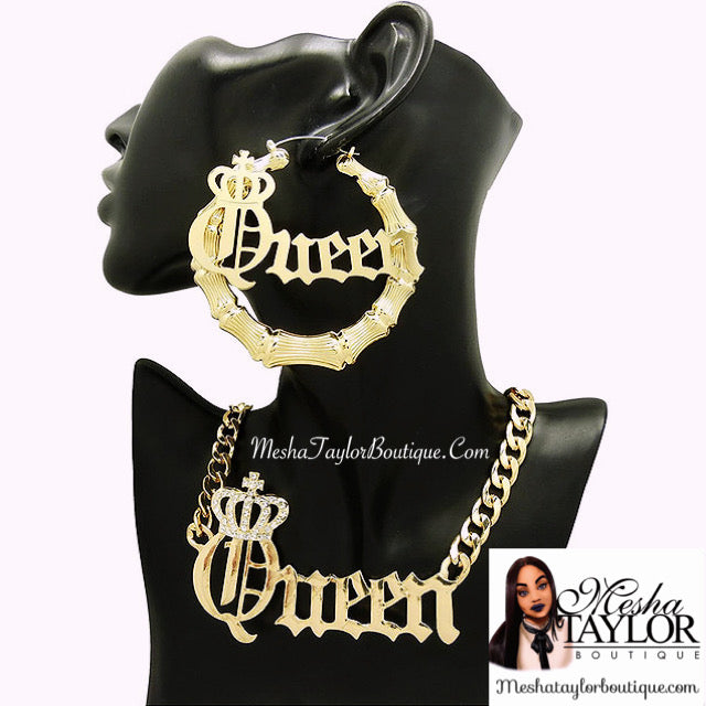 Queen Necklace & Hoop Earring Set.