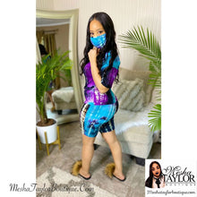 Load image into Gallery viewer, 2 Piece V Neck Tie dye short sets w/ mask