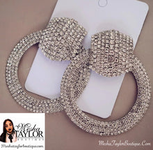 Load image into Gallery viewer, Iced Out Rhinestone Crystal Dangle Earrings.