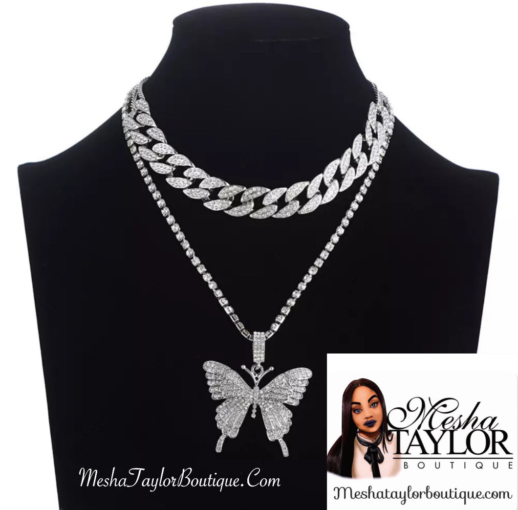 Iced Out Butterfly Necklace Set
