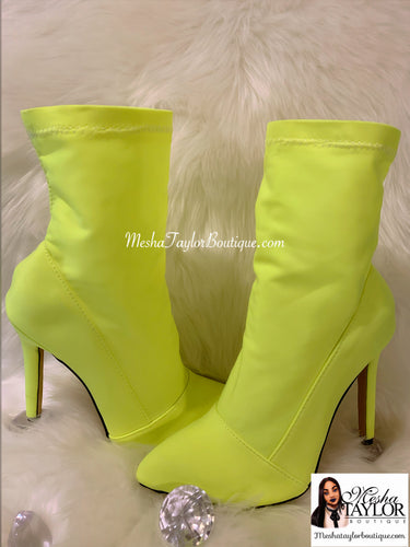 Neon Sock Ankle Boots