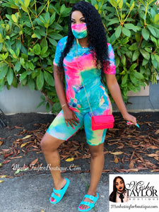 2 Piece V Neck Tie dye short sets w/ mask