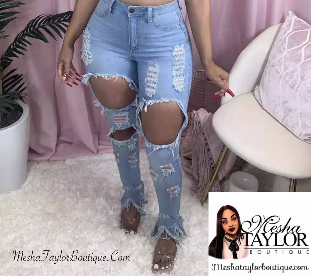 Hallowed Out High Waist Jeans