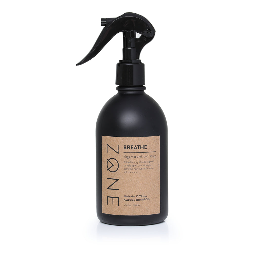 ZONE  250ml Yoga Mat and Room Spray made from Australian essential oils  in fresh and minty Breathe scent