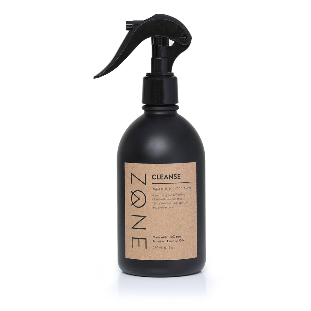 ZONE 250ml  glass Yoga Mat and Room Spray made from Australian essential oils in anti-bacterial Cleanse scent