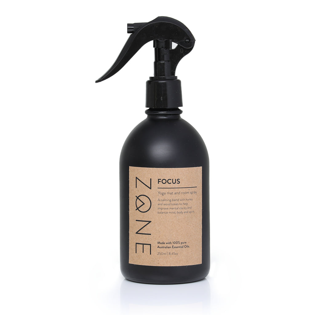 ZONE 250ml glass Yoga Mat and Room Spray made from Australian essential oils in calming Focus scent