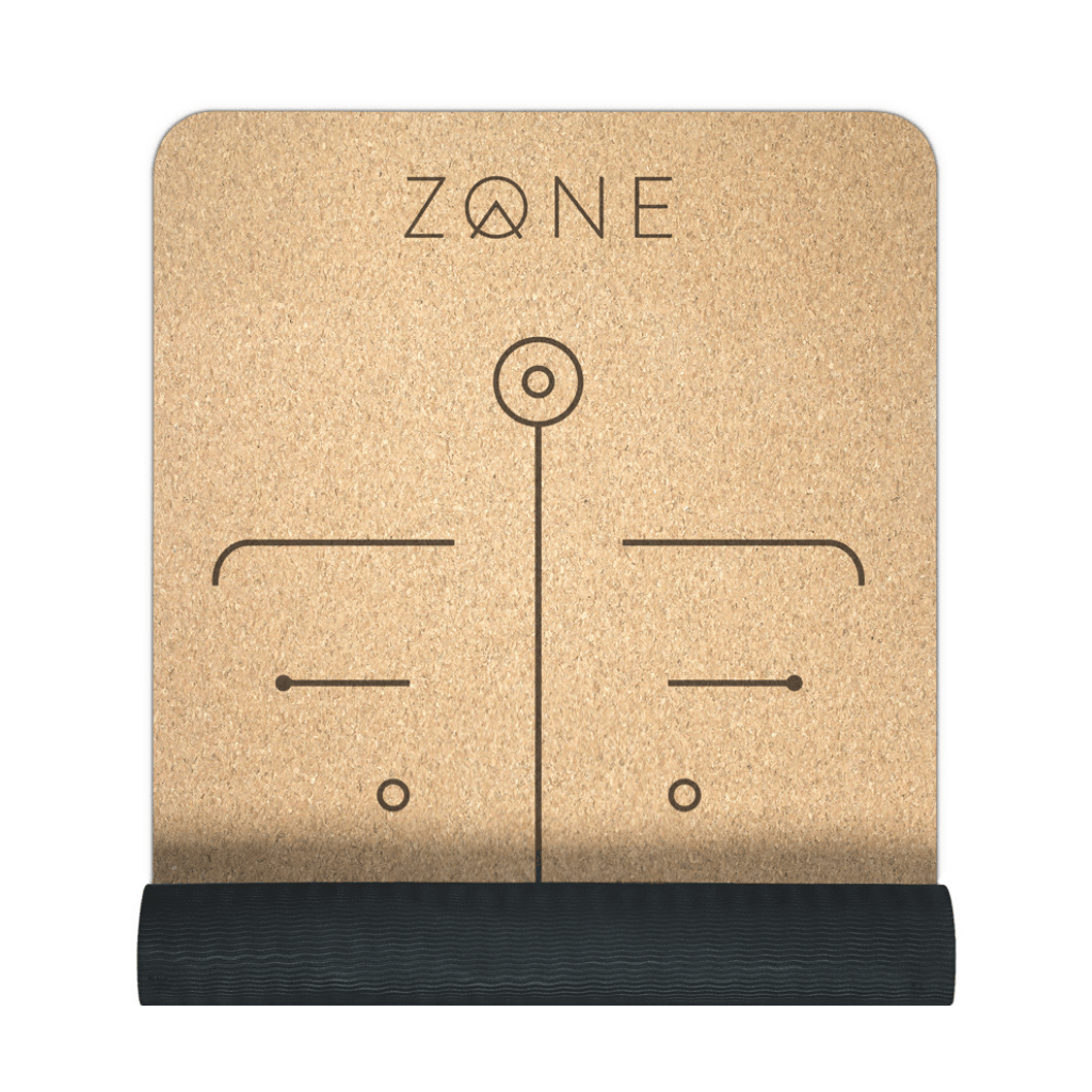 Sustainable Cork and natural rubber Yoga Mat by Zone  with alignment lines