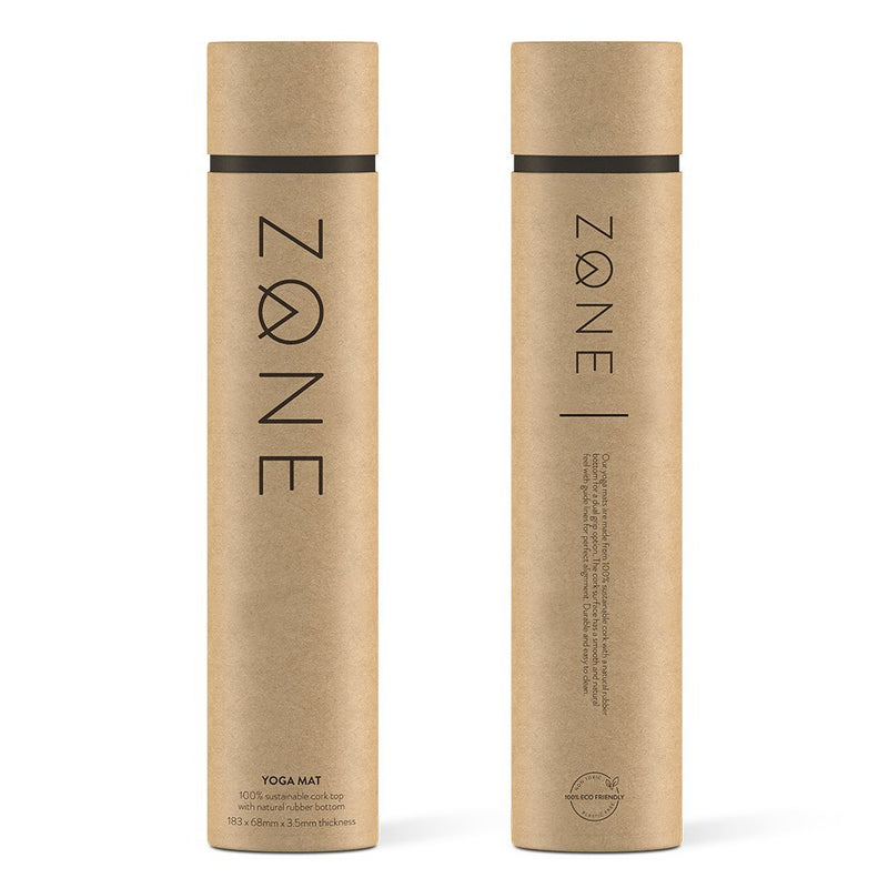 ZONE Cork Yoga Mat sent in a ship ready, eco-friendly packaging tubes