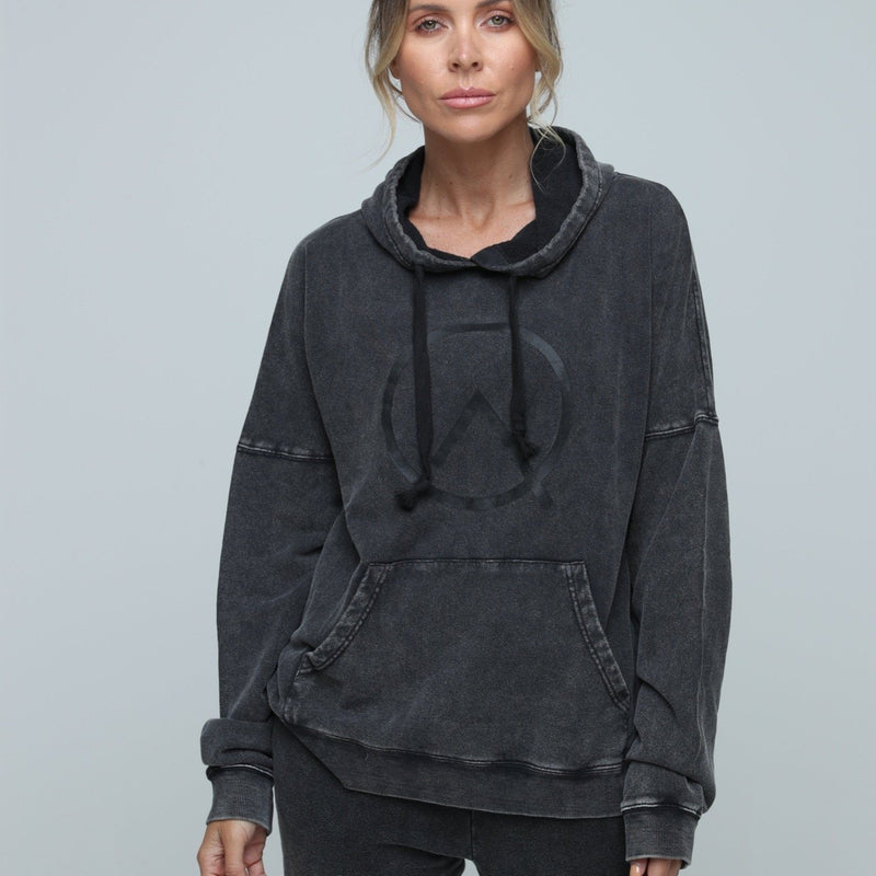 woman wearing zone by lydia sustainable hemp Oversized Hoodie in vintage black