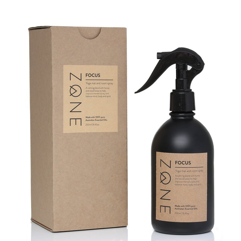 ZONE 250ml glass Yoga Mat and Room Spray made from Australian essential oils in calming Focus scent in eco packaging
