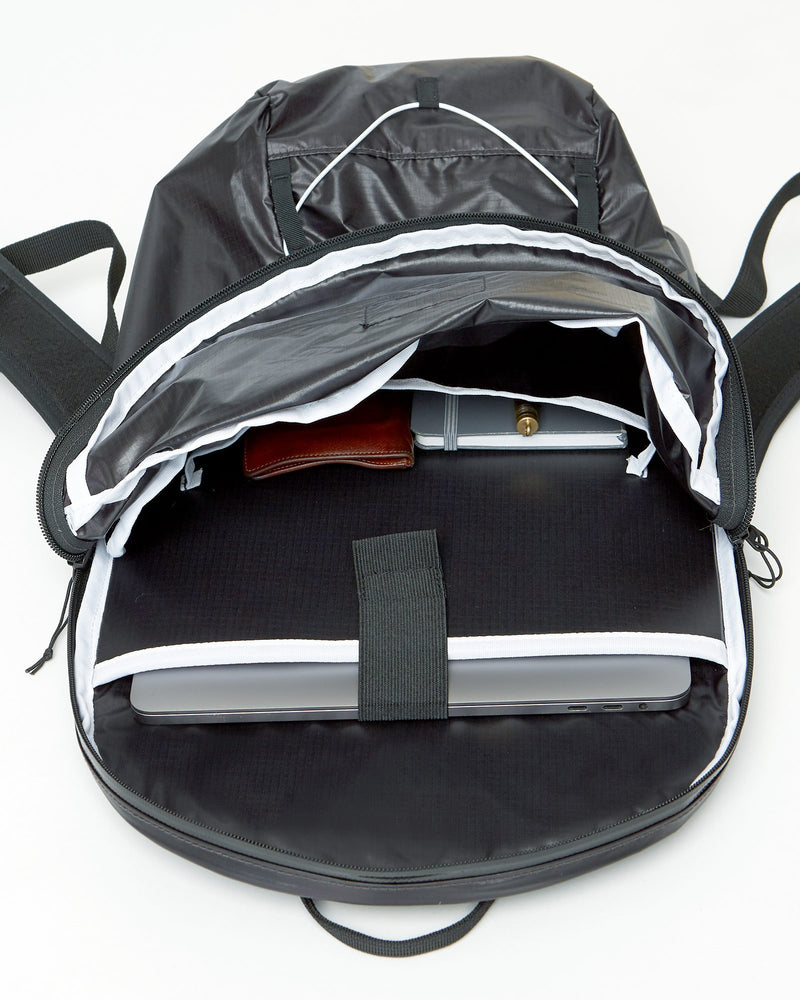 color: black ~ info: Easy access from top zip ~ alt: GBY Ultralight Laptop Day Pack Lightest In The World - Easy access from top zip