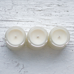 Top View of Concrete Garden Mind Body Soul Gift Collection, Three Soy Wax 4 oz Candles with White Background