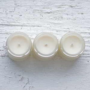 Top View of Concrete Garden The Antidote Gift Collection, Three Soy Wax 4 oz Candles with White Background