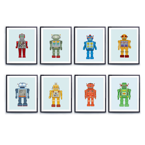 Robot print set of eight