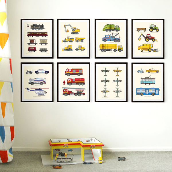 Set of eight Transport chart prints.