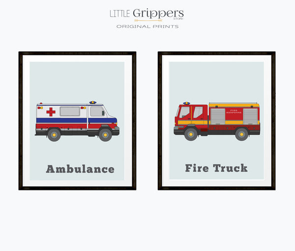 Vehicle Print set of two, Ambulance and Fire Truck