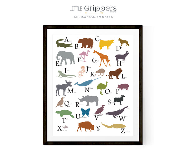 Kids animal alphabet poster
