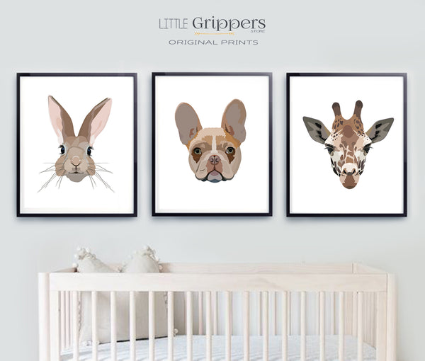 Animal portrait print set