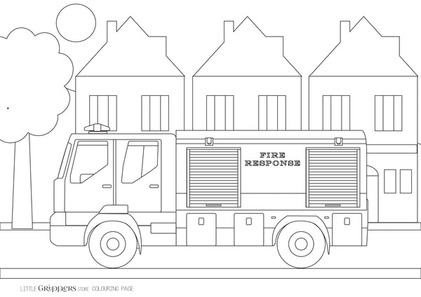 Free Fire Truck Colouring Page