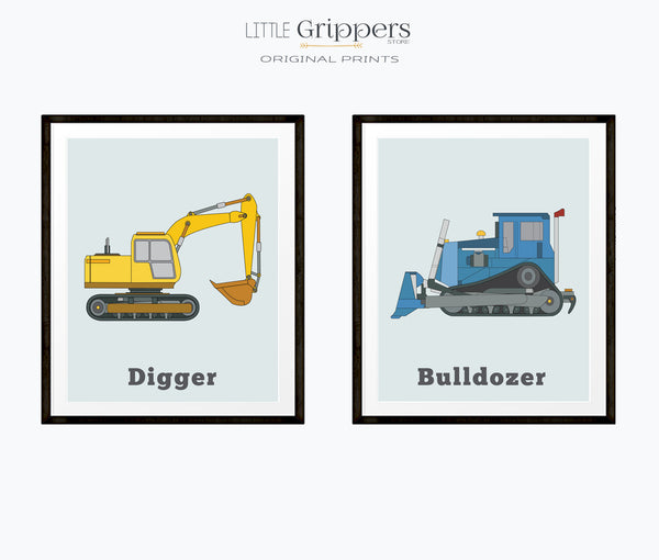 Vehicle Print set of two, Digger and Bulldozer
