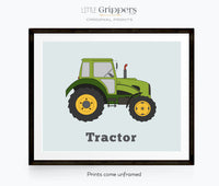 Vehicle Print set of two, Tractor and Monster Truck