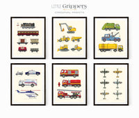 Vehicle chart print set of six