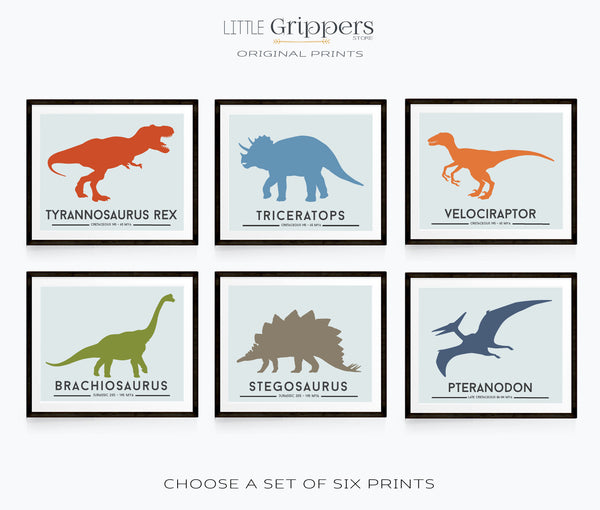 Dinosaur print set of six
