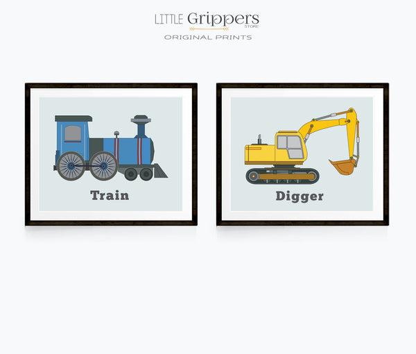 Vehicle Print set of two, Train and Digger