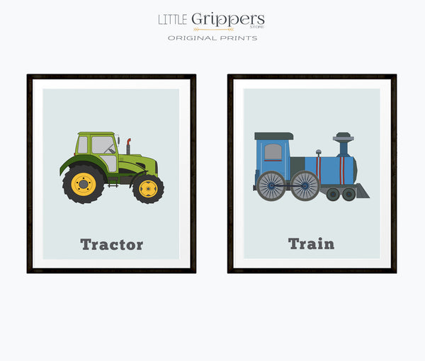 Vehicle Print set of two, Tractor and Train
