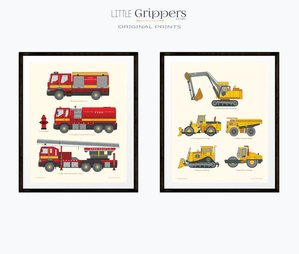 Fire Truck and Construction Truck print set