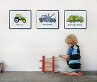 Kids transportation decor, set of three prints