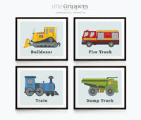 Set of four Transportation prints