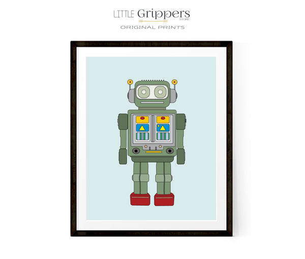 Printable Forest Green Robot Print