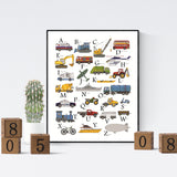 Alphabet truck print for toddlers room