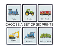 Kids truck wall print set