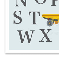 Alphabet Nursery Construction truck print