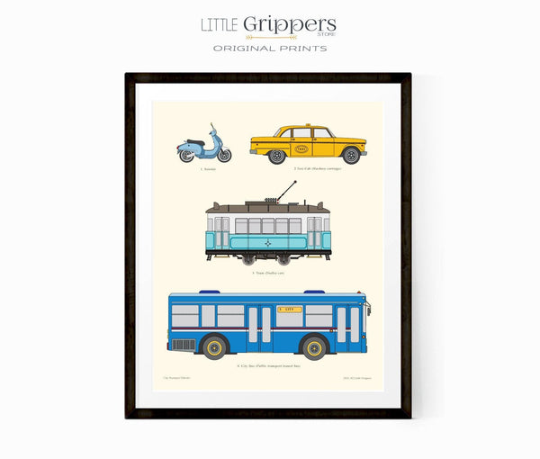 Kids city transportation chart print