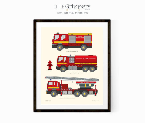 Fire truck wall chart print for kids