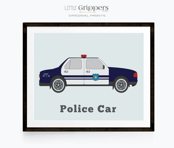 Police Car wall art for kids