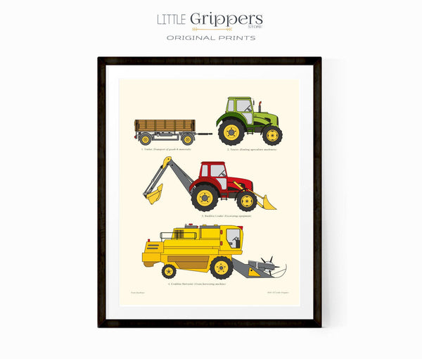 Farmyard vehicle wall chart print for boys