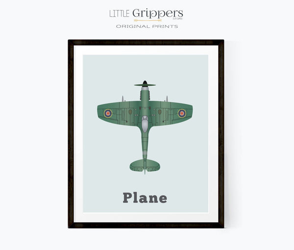 Spitfire airplane kids print