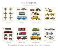 Kids vehicle chart print set