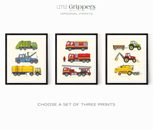 Vehicle chart print set of three