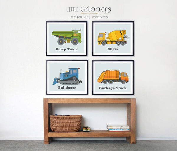 Boys construction truck wall art