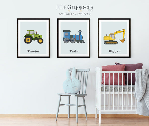 Boys nursery truck theme decor