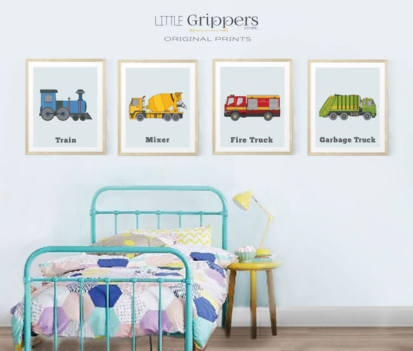 Vehicle print set for the nursery