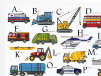 Vehicle Alphabet nursery print for kids