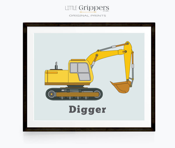 Digger construction truck wall art
