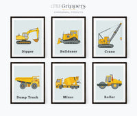 Construction truck prints set for kids
