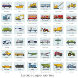 Kids vehicle art print set